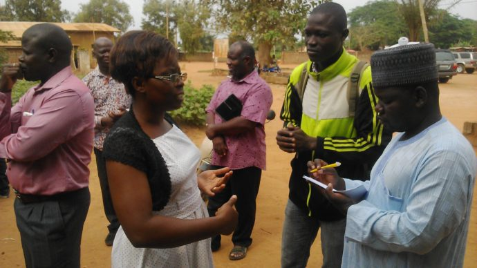 Photo: PATH/Fred Njobvu. A Benin nurse speaks with BLN participants about her experience using VaxTrac since its implementation four years ago.