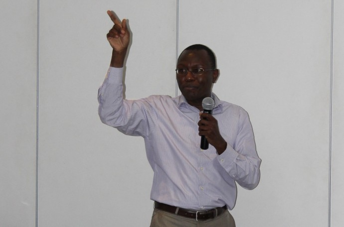 Photo: PATH/Mali Kambandu. Professor Marin Ware of Kenya opens the third BLN Design Collaborative Meeting with an introduction to OpenHIE.