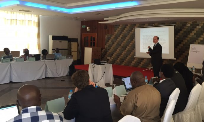 Photo: IntraHealth. PATH's Brian Taliesin delivers a presentation at the workshop.