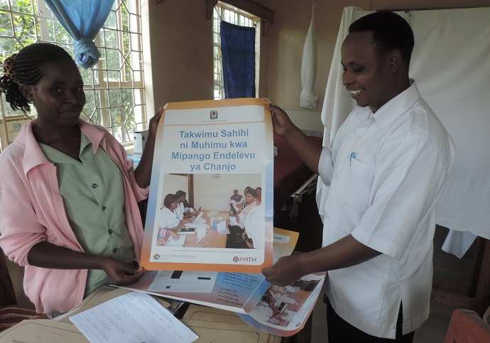Data use campaign posters are placed in facilities to encourage health workers to use the data to make evidence-based decisions. Photo: PATH.