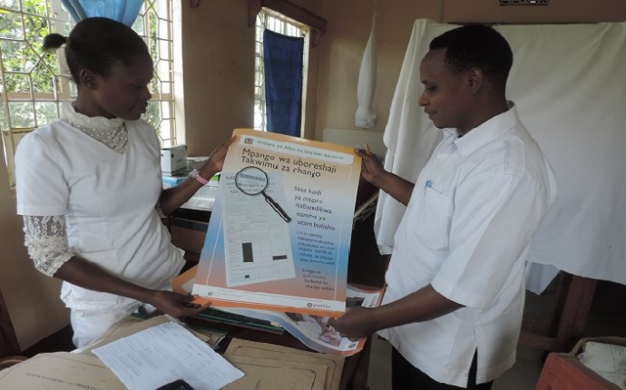 Photo: PATH/Mwanaidi Msangi. Data use campaign posters will be placed in facilities to encourage health workers to use data in a meaningful way.