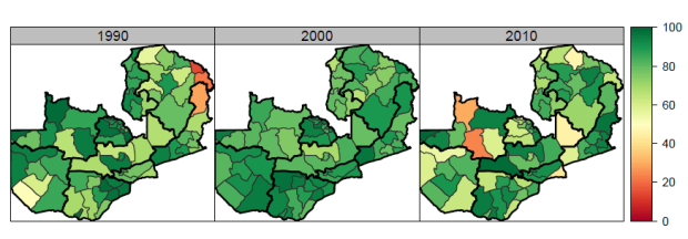 Polio immunizations stagnated or, in some cases, declined between 1990-2010. IHME.